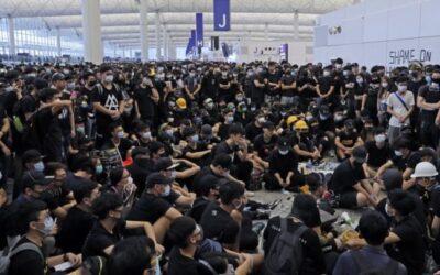 hong kong protester in airport
